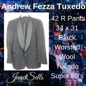 Andrew Fezza 42R Pants 34 x 31 Worsted Wool Tuxedo